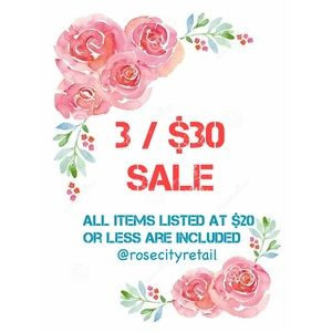 3/$30 SALE! All $20 & under included!
